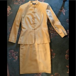 Two-piece 100% Pure Yellow Silk Suit